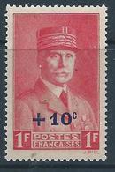 FRANCE 1941 - YT N°494 - + 10 C. Sur 1 F. Rose Carminé - Maréchal Pétain - Neuf** - TTB Etat - Nuevos