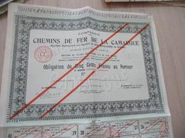 Action 500 F Compagnie Des Chemins De Fer De La Camargue Coupure D'appoint - Chemin De Fer & Tramway