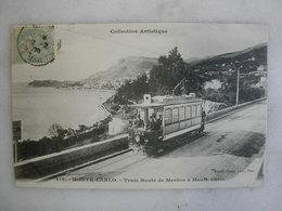 TRAMWAY - MONTE CARLO - Tram Route De Menton à Monté Carlo - Tramways
