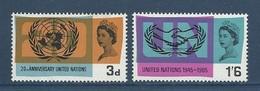 Grande Bretagne Great Britain 1965 Yvert 417/418 ** United Nations ONU UNO - 1952-.... (Elizabeth II)