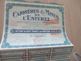 Action De 100 Francs Au Porteur Carrières Et Mines De L'Estérel - Mines