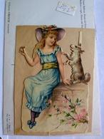Decoupis Oblaten Victorian Scraps Early 1890 German Girl & Dog On Original Backing Paper 11.5*7.5 Cm T - Enfants