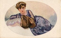 Illustrateur Terzi, Femme Allongé Fourrure (milano 261-6) - Andere Illustrators