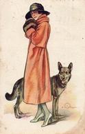 Illustrateur Terzi, Femme Et Chien Loup (dell'anna & Gasparini 457-3) - Autres Illustrateurs