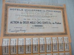 Action 2 000 Francs Hôtels Modernes De Provence Nîmes - Tourisme