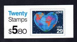 ETATS-UNIS 1991 - Carnet Yvert C 1938a - Scott #2536a - NEUF** MNH - Mappemonde En Forme De Coeur - 1981-...