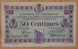 Chalon-sur-Saône Autun Et Louhans ( 71  ) 50 Centimes Chambre De Commerce 8 AVRIL 1920 - Chambre De Commerce