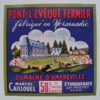 Etiquette Pont-l'Evêque - Domaine D'Amfreville - Fromagerie M.Caillouel à Eturqueraye Par Routot 27- Normandie  A Voir ! - Fromage