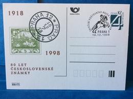 EPC 1998 Oblitéré CDV P42 80 Ans Du Premier Timbre Poste Tchécoslovaque Hradcany Mucha - Postal Stationery