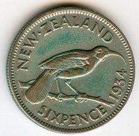 Nouvelle Zélande New Zealand 6 Pence 1934 Argent KM 2 - Nuova Zelanda