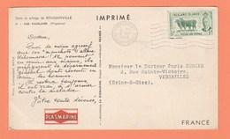 CARTE POSTALE PUBLICITAIRE LABORATOIRE PLASMARINE - DANS LE SILLAGE DE BOUGAINVILLE II - ILES FALKLAND (PINGOUINS) - Falkland