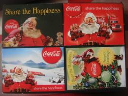 Lot De 4 Cartes Publicitaires COCA COLA Boisson Drinken Share The Happiness Père Noël Happy Christmas Publicité Camion - Publicité