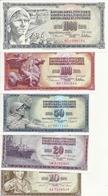 YOUGOSLAVIE 10-20-50-100-1000 DINARA 1968-78-81 UNC P 82-88-89-90-92 ( 5 Billets ) - Yougoslavie