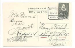 Nederland 1933.CBPTT-Congres Amsterdam. CONGRES KAART VAN CONGRESDEELENEMERS - Periode 1891-1948 (Wilhelmina)
