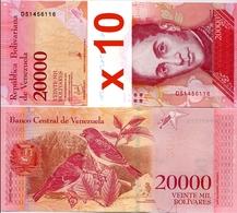 VENEZUELA       Lot Of 10 X 20,000 Bolívares       P-99c       13.12.2017       UNC  [ 20000 ] - Venezuela
