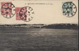 YT 83 Blanc + YT 85x2 Mouchon Maroc Surchargés Tanger CAD Tanger Maroc 2 7 22 CPA Tanger Mystérieuse Vue Du Large - Used Stamps