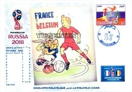 ARGELIA 2018 - Philatelic Cover Tintin Asterix FIFA Football World Cup Russia 2018 Fußball France Belgique Belgium - Bandes Dessinées