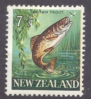 New Zealand - 1967 Fauna, Fish, Brown Trout, MLH - Unused Stamps