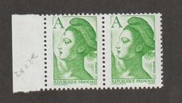 Variétés - 1986  - Type Liberté - N°  2423Ac -  A = (1f90) Vert    - Antenne Sur Le Front       - Neuf Sans Charnière  - - Curiosities: 1970-79 Mint/hinged