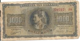 GRECE 1000 DRACHMAI 1942 VG+ P 118 - Grèce