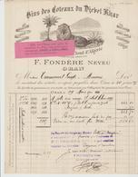 ALGERIE:  F. FONDERE Neveu, Propriétaire DJEBEL KHAR ORAN / Facture De 1900 Pour Amiens Belle Litho - France