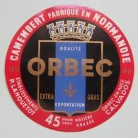 Etiquette Camembert - ORBEC - Fromagerie P.Lanquetot à Orbec-en-Auge 14-U Export - Normandie   A Voir ! - Fromage