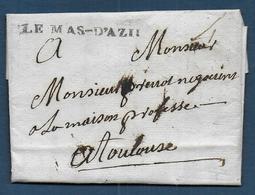 Ariège -  Cachet  LE MAS - D'AZIL   Sur Lettre De 1781 - Marcophilie (Lettres)