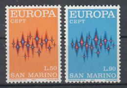 (!) Timbres EUROPA CEPT SAINT MARIN De 1972 N° Y&t  808/809 Neuf(s) ** MNH Luxe - Europa-CEPT