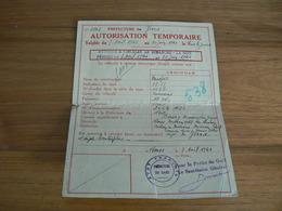 CARTE AUTORISATION TEMPORAIRE 1941 - Cartes