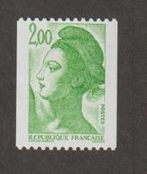 Variétés - 1987  - Type Liberté - N°  2487b -   2f Vert    - Gomme Brillante Jaunâtre -   Neuf Sans Charnière  - - Variétés Et Curiosités