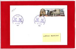 Atm-Lisa / Nabanco Lettre Verte 0,88 Sur Lettre Obl 14.03.2019 1er Jour   Fontaine Saint-Michel, - 2010-... Vignette Illustrate