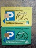 CARTE STATIONNEMENT 2 CARTES DIFFERENTES A PUCE CHIP CARD RENNES PROFESSIONNEL RESIDANT NEUVE - PIAF Parking Cards