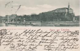 AK Gruss Tetschen Bodenbach Decin Podmokly Schloss Hafen Kettenbrücke Schlepper Schiff Elbe Bei Rosawitz Theresienau - Sudeten