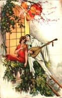 Illustrateur Corbella - Couple Pierrot Mandoline Lampions (degami 979) - Corbella, T.