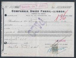 Recibo Da Companhia União Fabril Com Stamp De Recibo Perfurado CUF 1938. Capicua 252. Palíndromo. Perfin. Indústria. - Portugal