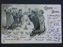 Ref5849 CPA Dessin Animée - Gruss Aus Bonn - Buveurs De Bière N°895 - 1901 - Greetings From...