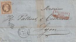 LSC Beyrouth Pour Lyon  40 Centimes Y&T31 GC5082. Griffe Rouge Paquebots De La Méditérranée 02/01/69 - 1863-1870 Napoléon III Lauré