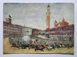 SIENA -IL PALIO  BOZZETTO PITTORE V. GIUNTI - VIAGGIATA FG - Siena