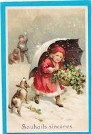 Gaufrée, Relief - Petite Fille, Parapluie, Neige, Chien, Houx - Fancy Cards