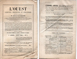 """Revue """"L' OUEST Agricole, Horticole Et Industriel - Aout 1862 - 1° Année N° 2 (Divers 85) - Livres, BD, Revues"""