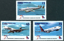 Cuba Kuba 2004 Cubana 75 Years Ans Lockheed Constellation Iliouchine Il-62  Airbus A-330 - Aerei