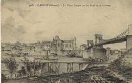 Illustrateur LANGON (Gironde ) Le Vieux Langon Sur Les Bords De La Garonne RV  Timbre à Voir - Langon