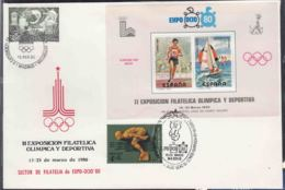 Spain 1980 Very Nice Cover With Russia And Spain Stamps, Olympic And EXPO, Nice Cancel With Olympic Russian Bear Cancel - 1931-Aujourd'hui: II. République - ....Juan Carlos I