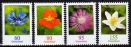 2019 Germany  Standards Flowers New Issue Of 2019 Set MNH** MiNr. 3481 - 3484 Cornflower, Nasturtium, Centaurea, Anemone - Unused Stamps
