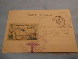 Cp Avec Vignette Exposition Poste Aerienne 1950 Saint-raphael - Luftfahrt