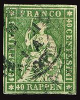HELVETICA SWITZERLAND SUISSE 1854-62 40 R. USED - Oblitérés