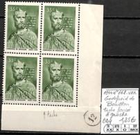 [848658]TB//**/Mnh-Belgique 1944 - N° 662-VAR, Godefroid De Bouillon, Tache Foncée à Gauche, Bd4 - Plaatfouten (Catalogus OCB)