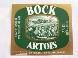 B4 Ancienne Étiquette BIÈRE BELGE BOCK ARTOIS  STELLA ARTOIS    BROUWERIJ STELLA ARTOIS GEBROUWEN TE LEUVEN VAARTSTRAAT - Etiquettes