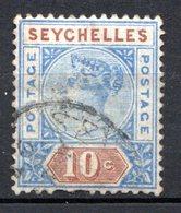 SEYCHELLES - (Colonie Britannique) - 1890 - N° 4B - 10 C. Bleu Et Brun - (Victoria) - Seychelles (...-1976)