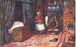 TUCKS OILETTE POSTCARD - INTERIOR OF CROFTERS COTTAGE - CAITHNESS SCOTLAND WITH GOOD COUPAR ANGUS POSTMARK - Caithness